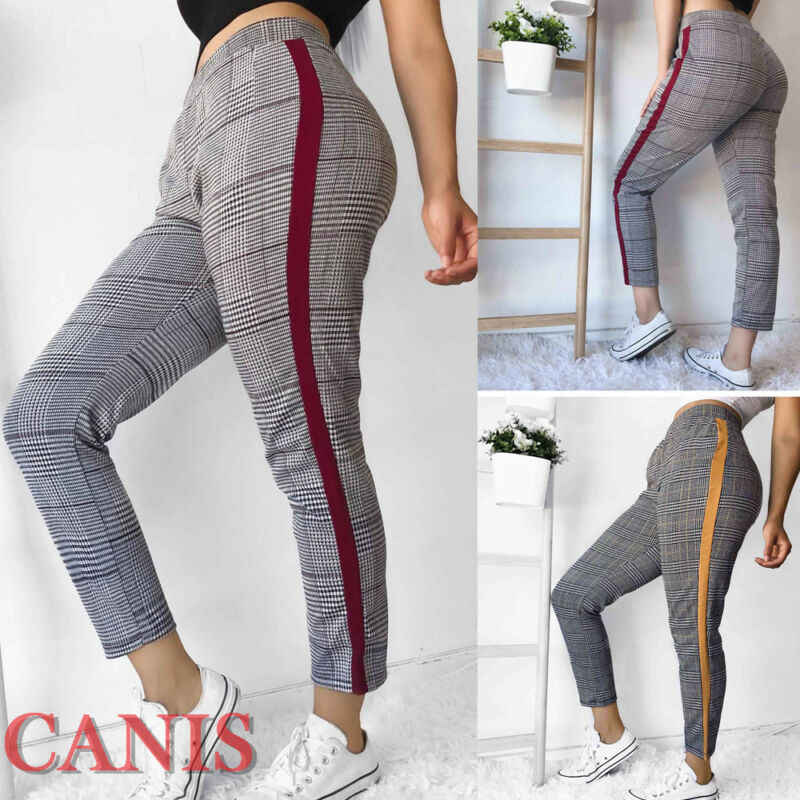 2019 Fashion Brand New Women's Autumn Casual High Waist Plaid Skinny Plaid Pants Trousers Stretch Jeggings
