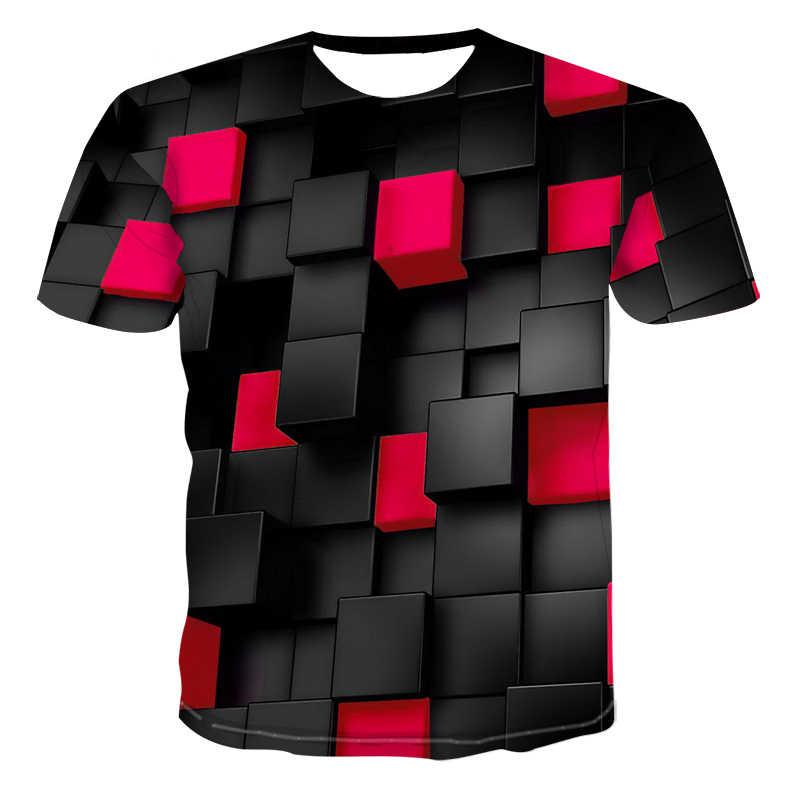 שחור אדום ריבועים זר דברים 3d מודפס מצחיק t חולצות מקרית קיץ T חולצת גברים/נשים חולצות טי מותג בתוספת גודל בגדים