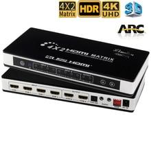 Macierz HDMI 4X2 przełącznik Splitter z toslink i dźwiękiem stereo 4kX 2K/30HZ obsługiwany