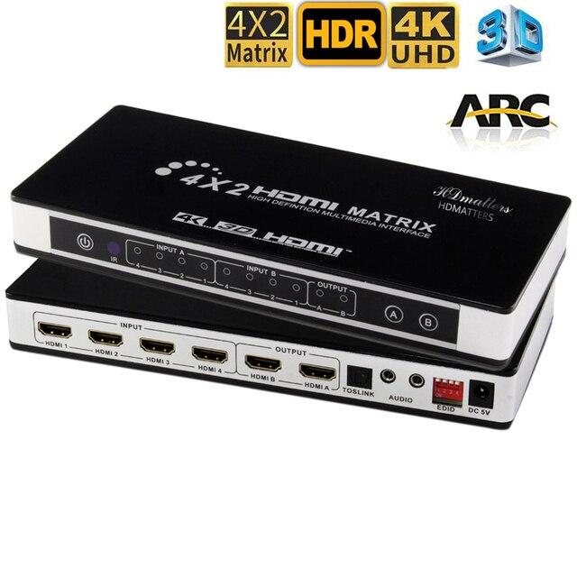 Répartiteur de commutateurs HDMI Matrix 4X2 avec toslink et audio stéréo 4kX 2K/30HZ pris en charge