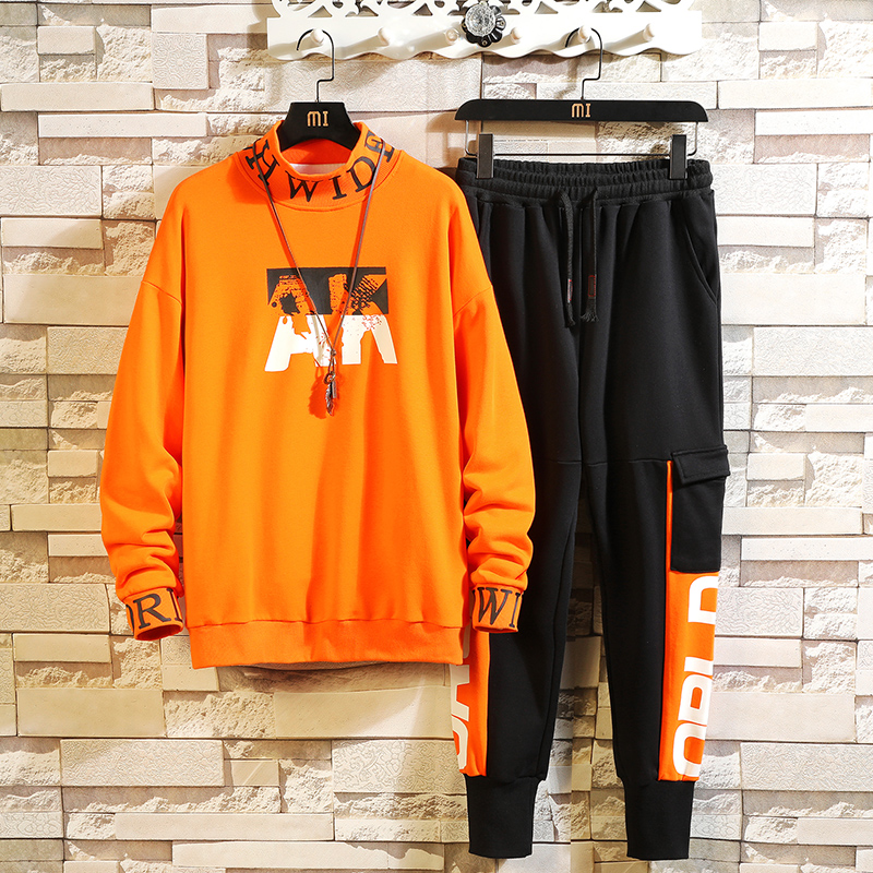 Patchwork Men's Sportswear Sets 2019 Autumn Winter Hoodies Male Casual Tracksuit Sweatshirt + Sweatpants