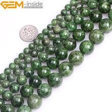 פנינה בתוך AA כיתה 7 14mm טבעי אבן עגול ירוק חצי יקר Diopside חרוזים להכנת תכשיטים 15 אינץ DIY מתנה