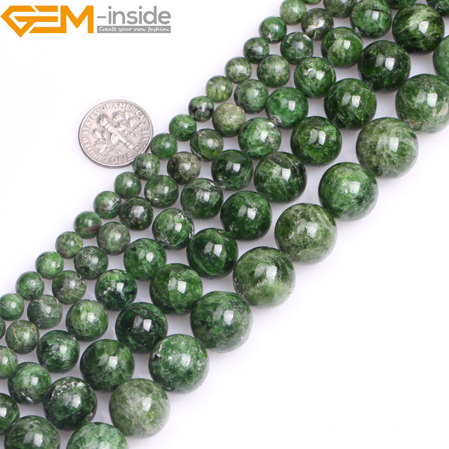 Gem inside AA Grade 7 14mm Natural Stone Beads Round Green Semi Precious Diopside Beads For Jewelry Making 15inch DIY Beads Gift