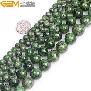 Image 1 - Gem inside AA Grade 7 14mm pierre naturelle ronde vert Semi précieuse Diopside perles pour la fabrication de bijoux 15 pouces bricolage cadeau