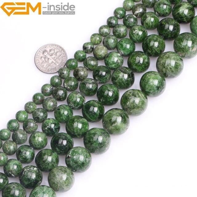 Gem inside AA Grade 7 14mm pierre naturelle ronde vert Semi précieuse Diopside perles pour la fabrication de bijoux 15 pouces bricolage cadeau