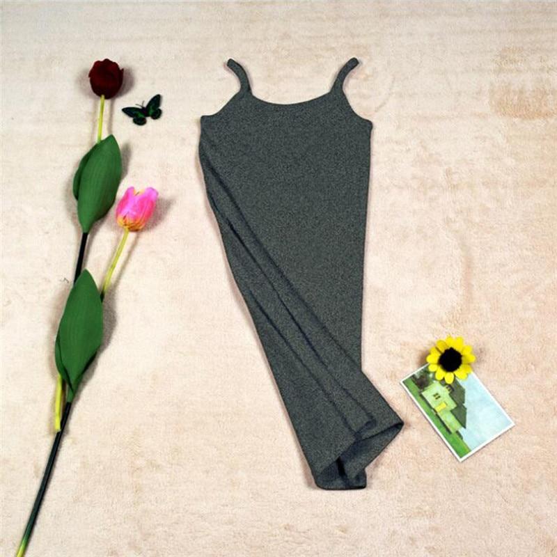 Новинка, Женская эластичная кофточка на бретельках, Длинный топ на бретелях, Мини Короткое платье, летнее повседневное сексуальное платье без рукавов для женщин - Цвет: A-Dark Gray