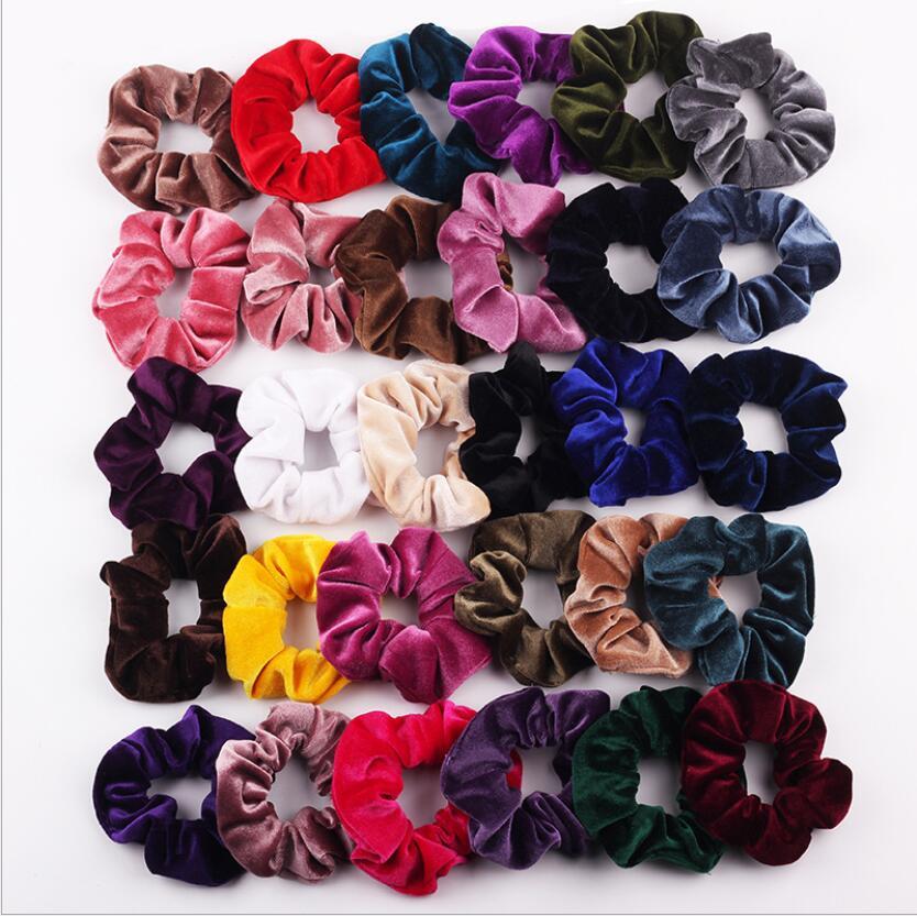 Rope Headwear Ties Hair-Accessories Ponytail Velvet Gift Elastic Solid-Color Holde Vintange