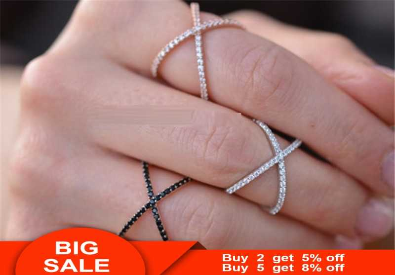 Vintage Cross X Shape Crystal Rings For Women 925 Sterling silver Micro Inlay Paved Zirconia Party Dating Statement Jewelry Gift