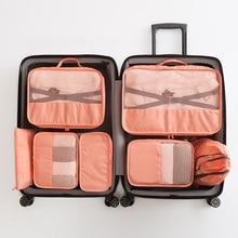 Viagem sutiã sapatos saco de armazenamento bagagem roupa interior acabamento à prova dwaterproof água saco de armazenamento de roupas de viagem 7 conjuntos