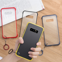 Frameless Transparent Matte Hard Phone Case For Samsung Note 8 9 With Ring Lanyard Back Cover Tpu Pc 2 In 1