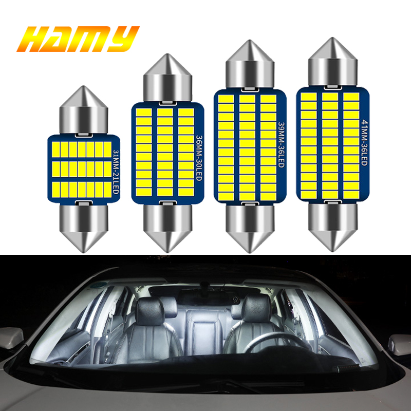 1x Car Interior LED Bulb C5W C10W Festoon 31mm 36mm 39mm 41mm LED Light Canbus No Error 3014 SMD 6500K White License Plate Lamps
