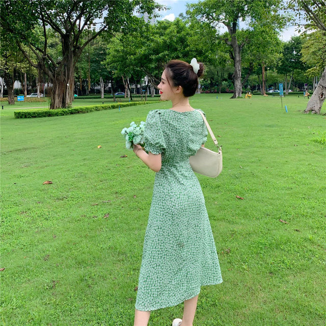 Summer_Floral_Dress_Women_French_Style_Puff_Sleeve_Chiffon_Split_Fairy_Dress_Sexy_Elegant_Korean_Sty 2