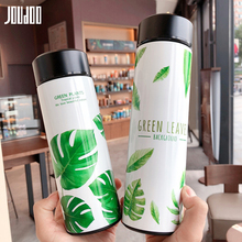 JOUDOO Creative Leaf Water Thermos Stainless Steel Thermal Vacuum Flask Portable Outdoor School Bottle Flasks 35