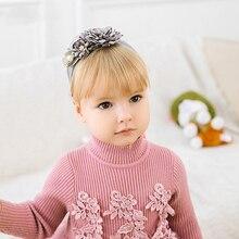 Solid Flower Baby Headbands Turban For Girls Elastic Silk Pearl Headwear Kids Children Hair Accessories Newborn New Hot