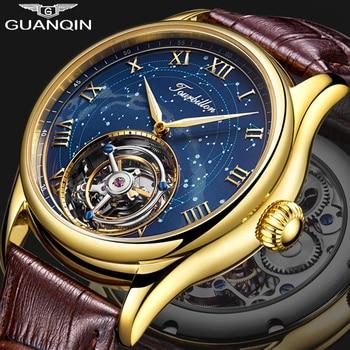 Guanqin Tourbillon Mechanical Watch Men Skeleton 100% Reloj Hombre 2019 luxury Waterproof Leather Watch Watchmen watch