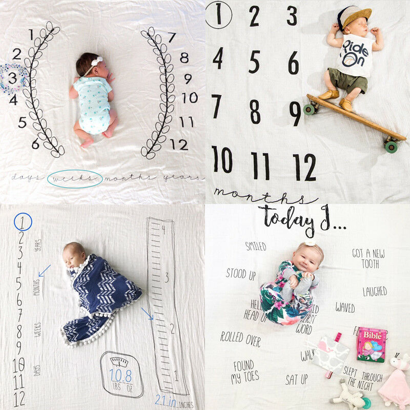 Newborn Baby Infants Milestone Blanket Mat Photography Prop Monthly Growth Photo Swaddling 0-12M