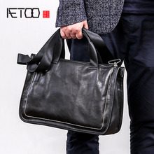 AETOO Leather handbag mens soft leather diagonal bag casual mens first layer leather shoulder briefcase