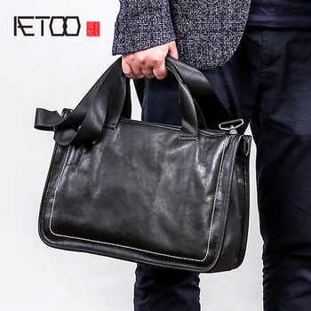AETOO Leather handbag men\'s soft leather diagonal bag casual men\'s first layer leather shoulder briefcase - DISCOUNT ITEM  52 OFF All Category