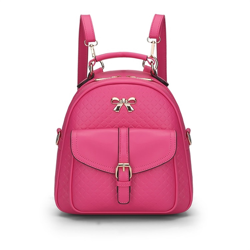 Trend Simple Ladies Backpacks Quality PU Leather Bow Casual Backpack New Teen Girl Fashion Check Travel Bag