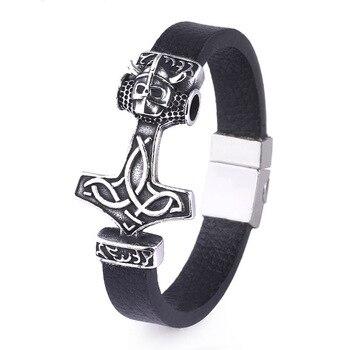 Bracelet Odin tête de loup acier inoxydable 2