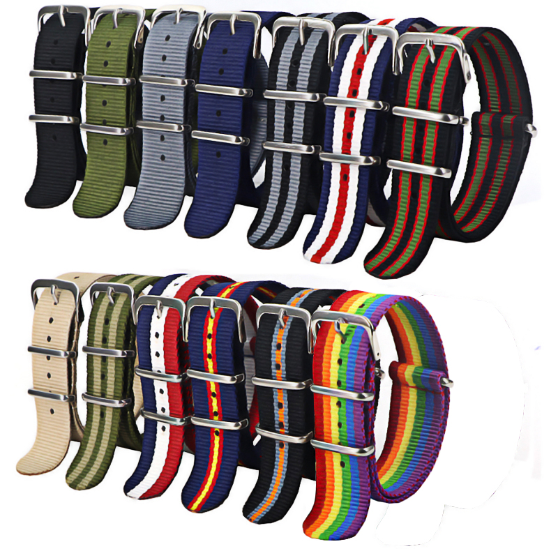 1pcs Nato Strap 18mm 20mm 22mm Nylon Watch Band Waterproof Watch Strap For Nato Army Sport Watch Dropshipping Belt