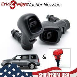 Erick's Wiper 3Pcs Windshield Windscreen Washer Nozzles Jet For Honda Pilot 2 2009 - 2015 Front Rear Set Spray Jets Hood