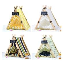 2021 New Canvas Warm Dog Nest Foldable Sleeping Lounger Mat Pet Cat Dog Teepee with Cushion & Blackboard, Portable Dog Tents Dec