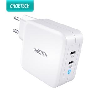 "Image 1 - CHOETECH 100W גן מהיר סוג C מטען עבור MacBook Pro פ""ד 3.0 2 יציאת USB C מטען עבור סמסונג Dell XPS פיקסל 4 QC3.0 מתאם"