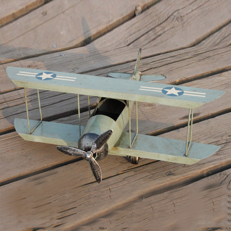34x36x15cm World War Era Aircraft Plane Model Biplane Decoration Military Fighter Airplane Model Toys for Children Adults image