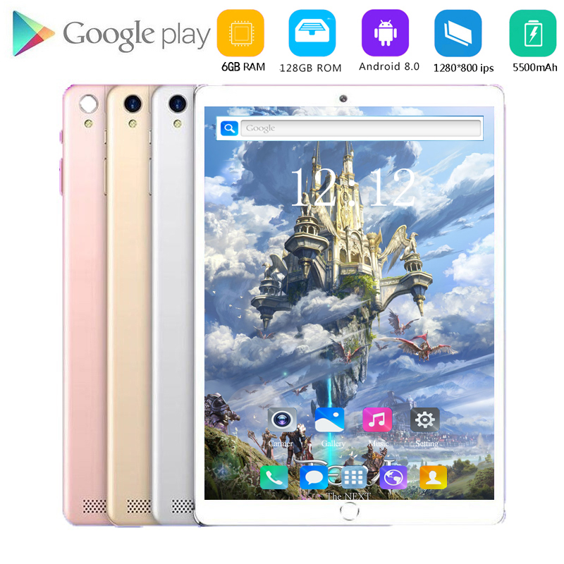 Hot Play/Spotify/Youtube 10 Inch Tablet PC Android 8.0 Octa Core 6GB RAM 128GB ROM 5.0MP Bluetooth Wifi 4G LTE IPS Tablet 10.1