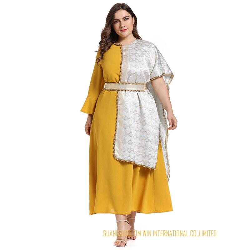 Vestidos женское платье большого размера желтое платье трапециевидной формы с круглым вырезом лоскутное кимоно рукав Модное платье Бандажное платье 2019 Toleen бренд - 3