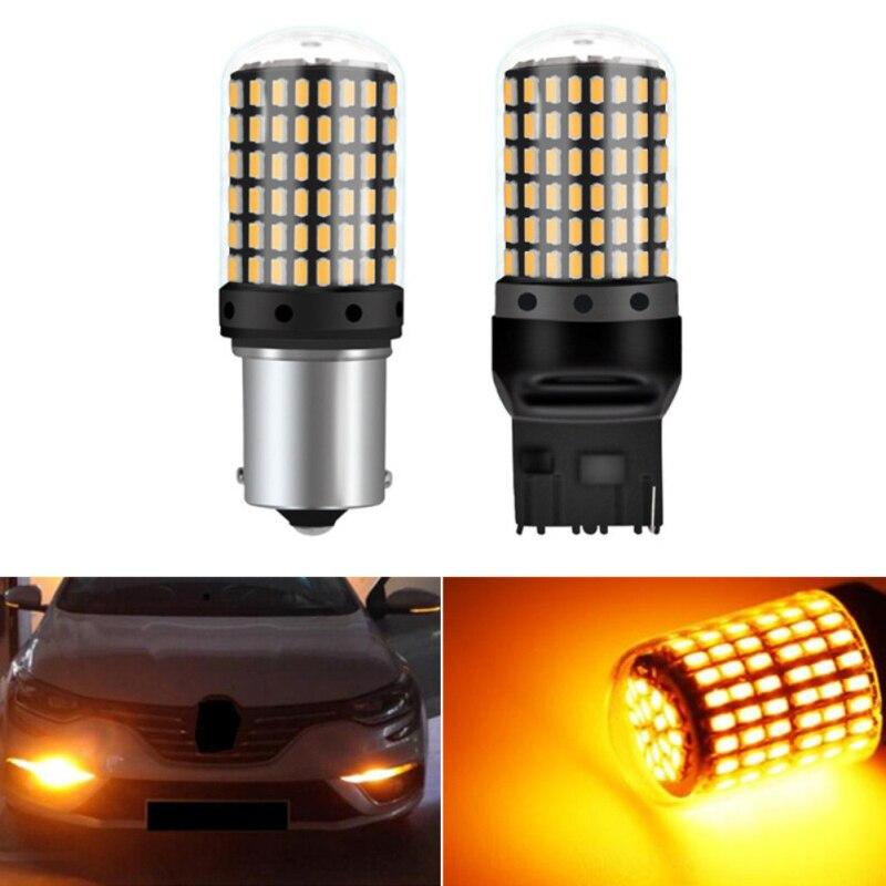 Автомобильный сигнальный светильник Поворотный Светильник T20 7440 W21W светодиодный лампы 3014 144 Smd СВЕТОДИОДНЫЙ CanBus без ошибок P21YW 1156 BA15S P21W свет...