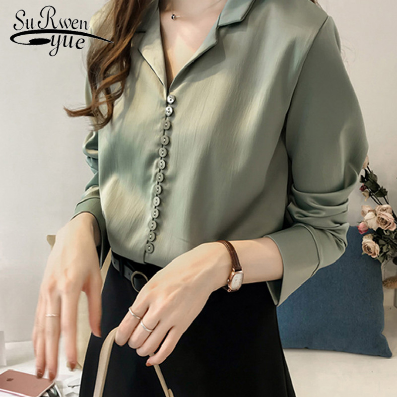 2020 New Arrived Summer Wear Women Blouse Solid Chiffon Notched Shirt Long Sleeve Work Wear Women Top OL Style Plus Size 1180 40