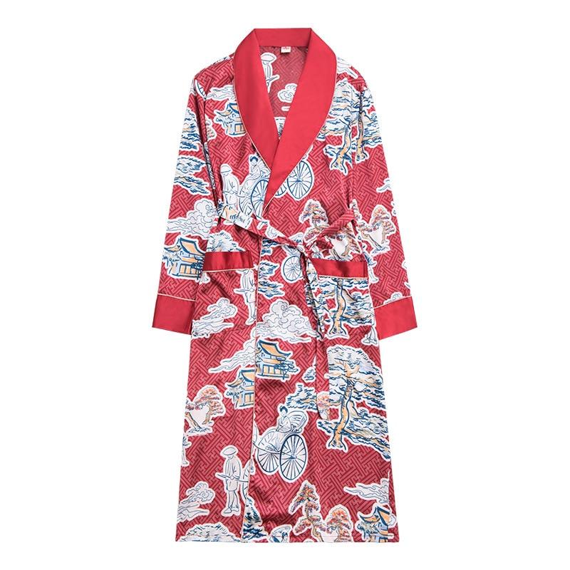 Burgundy Size L XL XXL Chinese Men's Rayon Satin Casual Nightwear Robe Gown Print Animal Kimono Bathrobe Sleepwear Pajamas