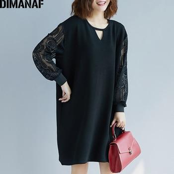 DIMANAF Plus Size Women Blouse Shirts Elegant Lady Tops Tunic Loose Long Sleeve Fashion Spliced Lace Black Female Clothes Spring цена 2017