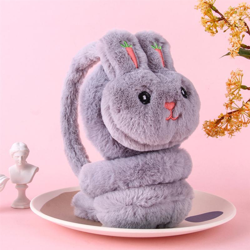 Cartoon Embroidery Earmuffs Soft Ear Warmer Winter Plush Ear Covers Headwear Winter Accessory For Girl Lady Keep Warm (Grey)