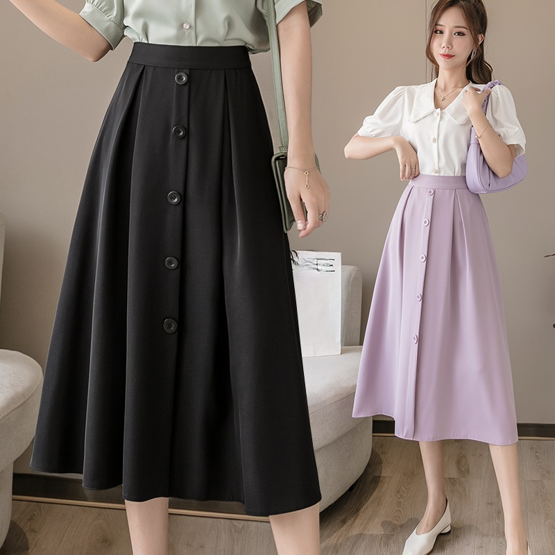 Summer Candy Purple Pleated Chiffon Long Skirts Elastic Waist Single-breasted Buttons Mint Green A-line Mid-calf Long Skirts