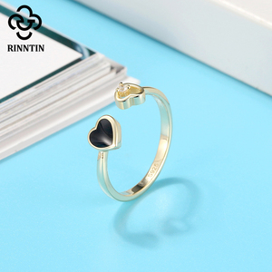 Image 4 - Rinntin 100% 925 Sterling Silver Black Red Heart Shape Enamel AAAA Zircon Adjustable Ring Jewelry Accessories For Female  TEQR04