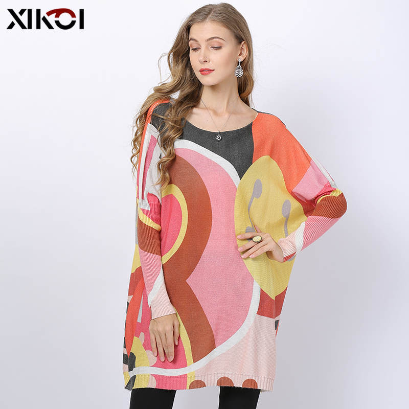 2019 Sweet Pink Knitted Sweater Women Winter Jumper Patchwork Print Oversized Dress O-neck Wool Pull Femme Loose Pullovers