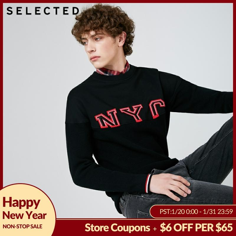 SELECTED Men's Round Neckline Sweater Cotton-blend Letter Print Pullovers Knitted Clothes C   419124535
