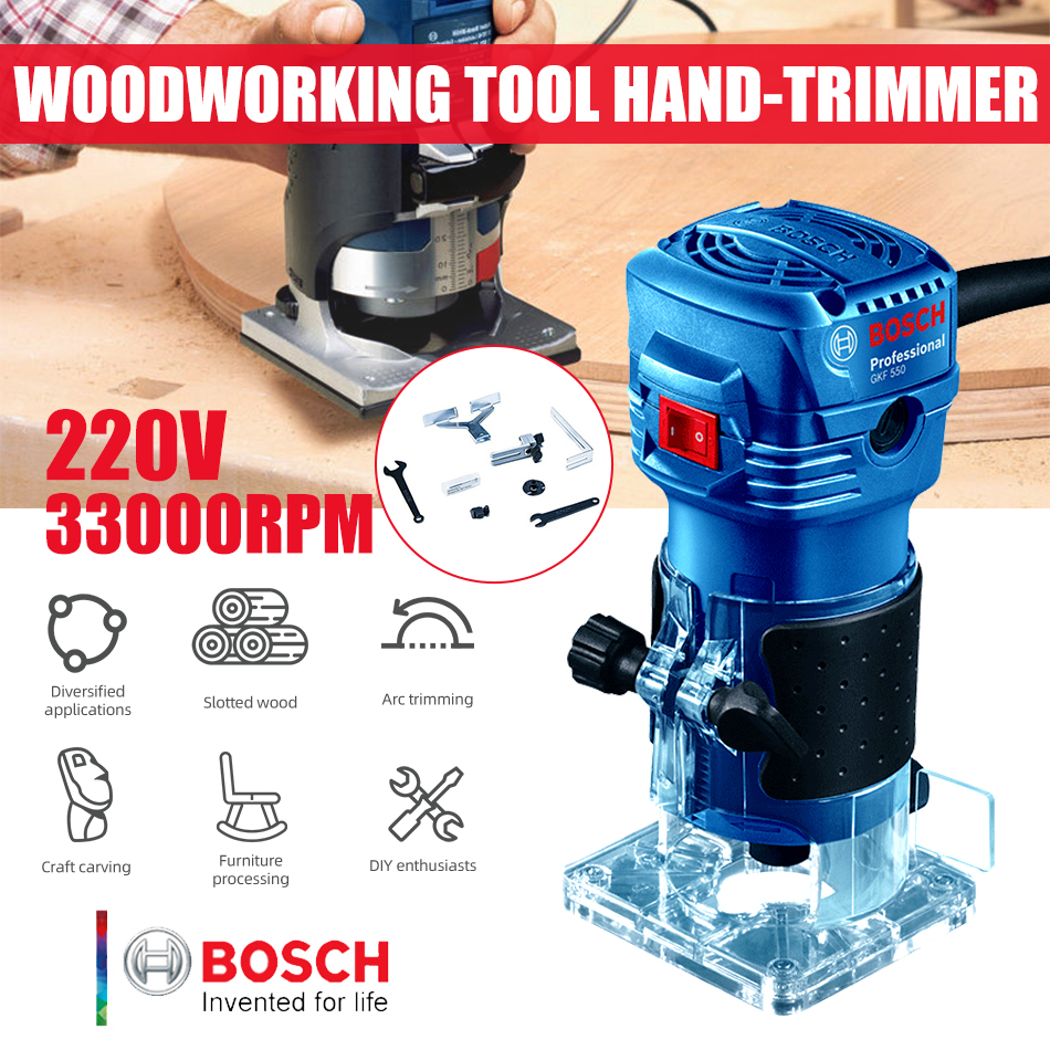 Bosch 550W Woodworking Electric Router trimmer 33000rpm Wood Milling Engraving Slotting Trimming machine Hand Carving Carpentry