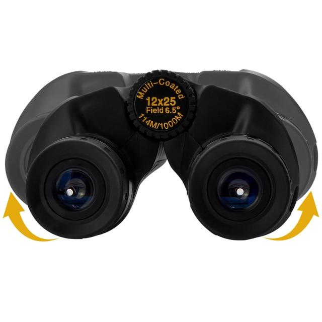 12x25 Compact Binoculars with Low Light Night Vision High Power Waterproof Binocular Professional Portable Binoculars Telescope 5