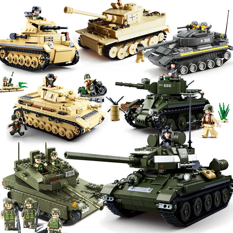 Tank Army ww2 T34 M1A2 Tiger German m1a2 Battle Vehicle Set Legoings Building Blocks Kit DIY Education Christmas Gifts