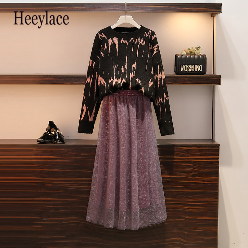 Plus Size 5XL Women Winter Warm Thick Sweater And Maxi Mesh Skirt Set For Women Winter Basic Two Piece Set Good Quality