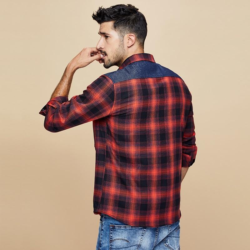 Image 4 - KUEGOU 2019 осень 100% хлопок клетчатая красная рубашка мужская  одежда на пуговицах Повседневная приталенная с длинным рукавом для  мужчин брендовая блуза размера плюс 6987Повседневные рубашки   -