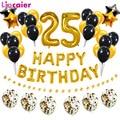 Воздушный шар из фольги с цифрами 25, украшение для вечеринки в честь Дня Рождения, для мужчин и женщин 25 лет, золотистый, черный, домашний дек...