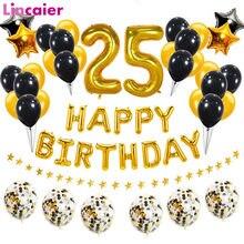 Número 25 folha balão feliz aniversário decorações de festa 25 anos velho homem mulher 25th ouro preto casa decoração aniversário suprimentos