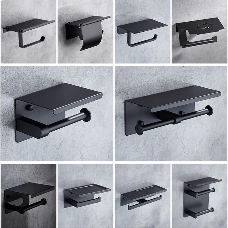 Simple Design Matte Black 304 Stainless Steel Toilet Paper Holder With Phone Shelf Bathroom Toilet Matte Black Roll Paper Holder