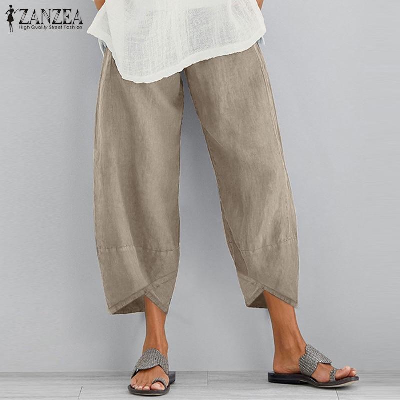 2021 ZANZEA Vintage Linen Pants Women's Autumn Tousers Casual Elastic Waist Asymmetrical Pantalon Female Cropped Pants Oversized