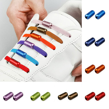 1 Pair Multicolor Thick Lazy Shoelace Buckle For Kids and Adult Lock Quick Metal Capsule No Tie Shoelace Buckle Sneakers laces image